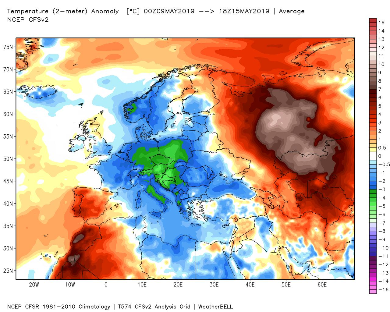 Anomalie di temperatura importanti sull'Europa - models.weatherbell.com