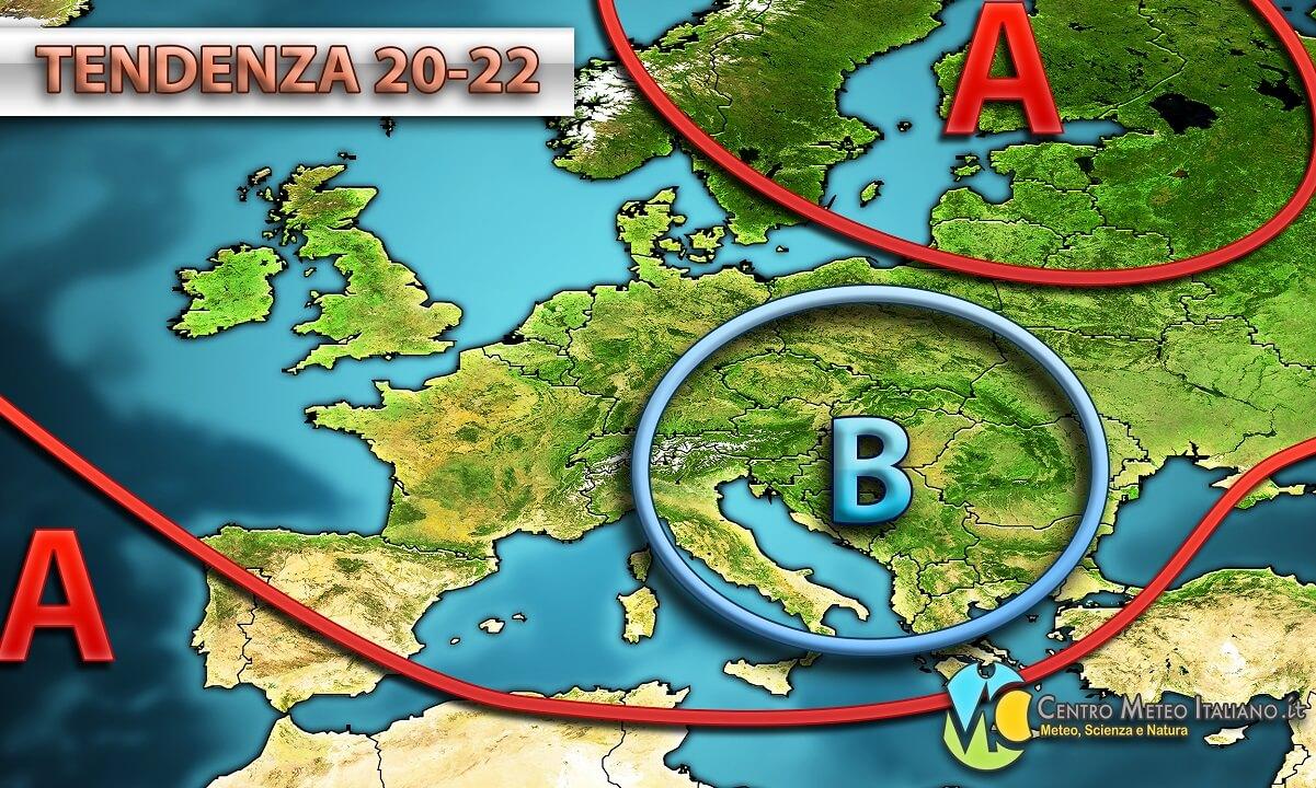 Tendenza meteo per la prossima settimana in Italia, tempo instabile con possibili acquazzoni specie al nord.