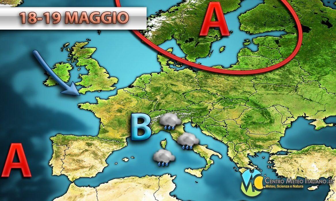 Previsioni meteo in Italia, spiccato maltempo al centro-nord con piogge diffuse e locali temporali, instabile anche al sud con locali acquazzoni.
