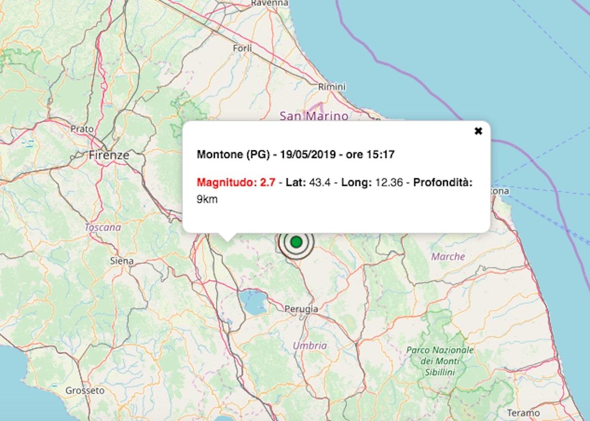 terremoto oggi umbria 19 maggio 2019