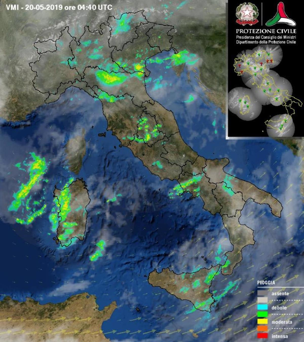 Immagine radar della protezione civile - protezionecivile.gov.it