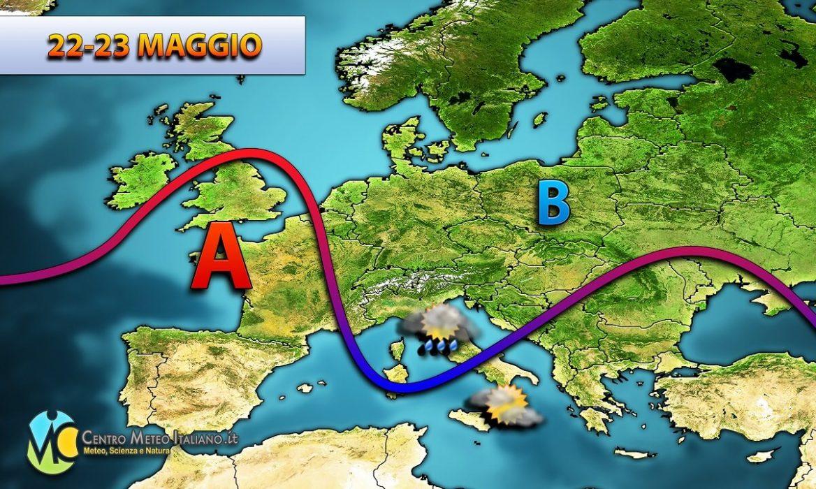 Previsioni meteo Italia, tempo instabile con piogge e temporali pomeridiani.