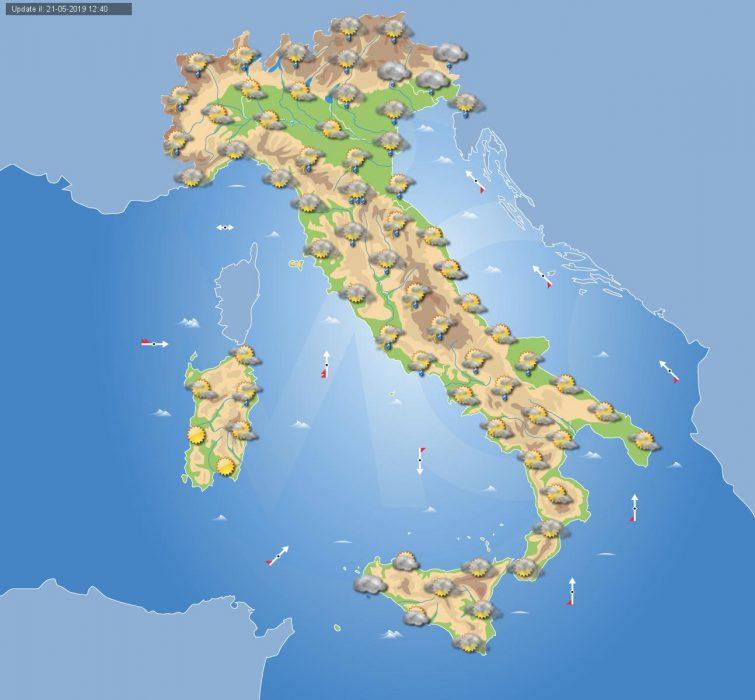 Previsioni meteo Italia per domani, Mercoledì 22 Maggio.