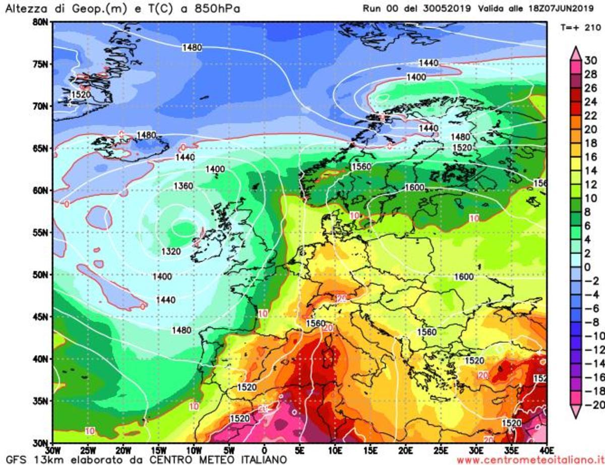 Caldo africano verso l'Italia secondo il modello GFS per il 7 giugno