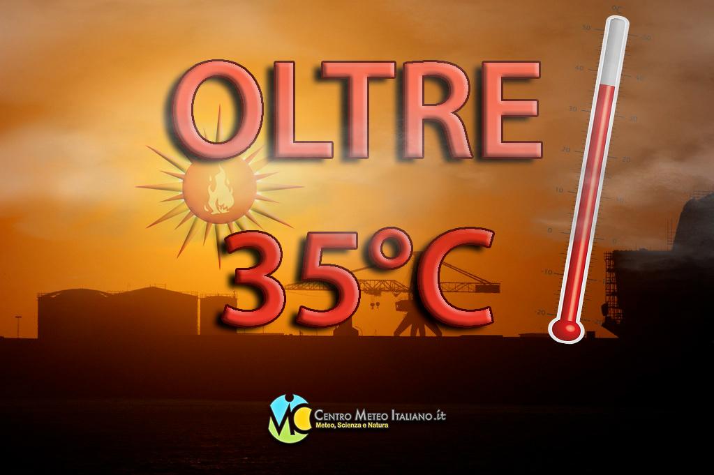 Temperature in aumento anche oltre i +35 gradi