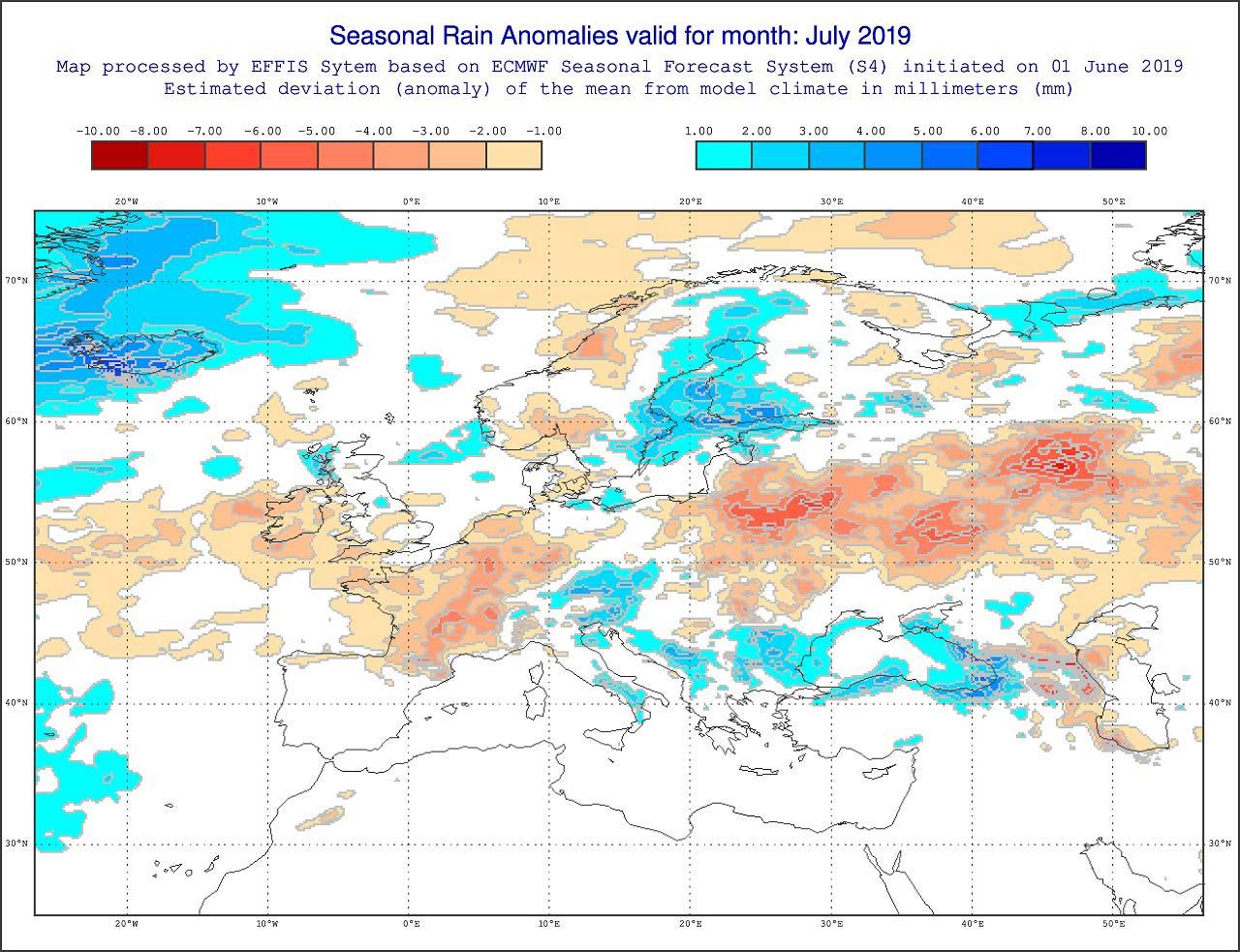Anomalie di precipitazione previste dal modello europeo ECMWF per luglio 2019 -effis.jrc.ec.europa.eu.jpg
