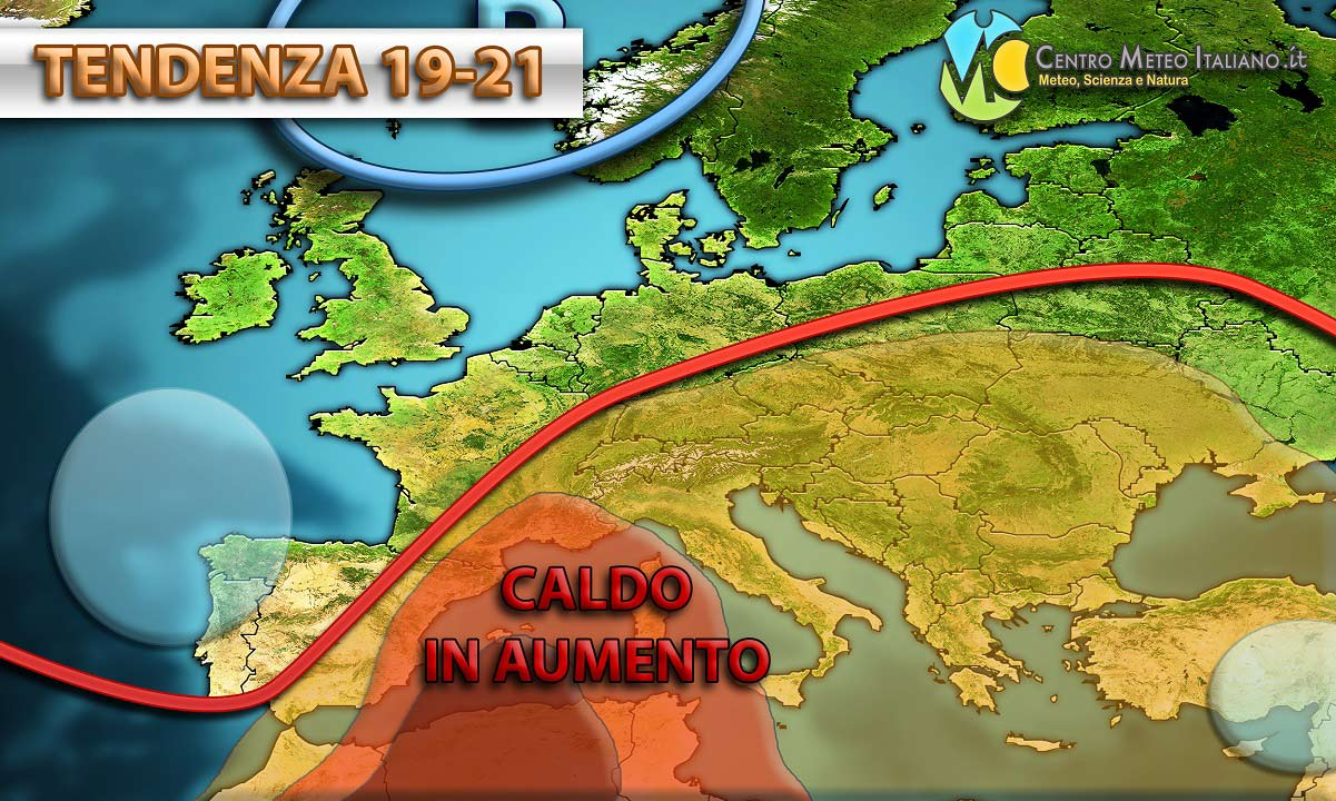 Nuovo possibile ritorno del caldo in Italia dopo una breve fase con temporali pomeridiani e temperature più vicine alla media.