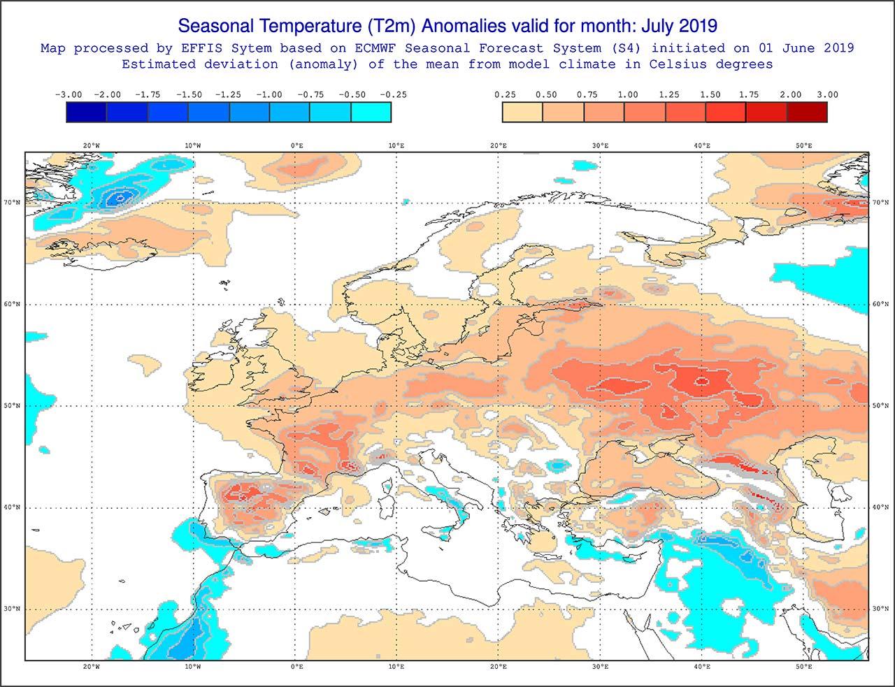 Anomalie di temperatura previste dal modello ECMWF per luglio 2019 - effis.jrc.ec.europa.eu