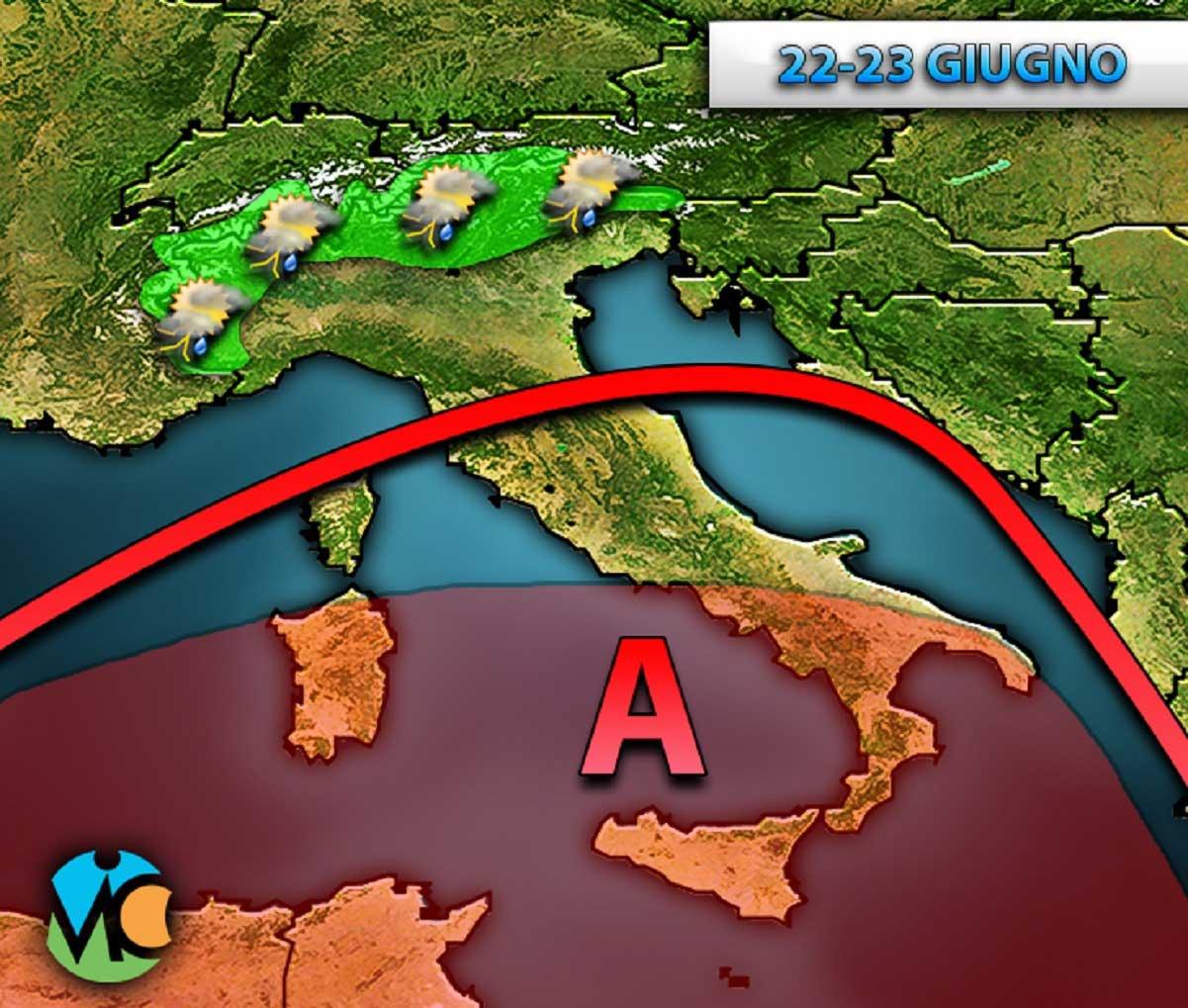 Weekend all'insegna del caldo specie al Centro Sud mentre sulle regioni settentrionali non si escludono locali piogge e temporali soprattutto a partire dal pomeriggio.