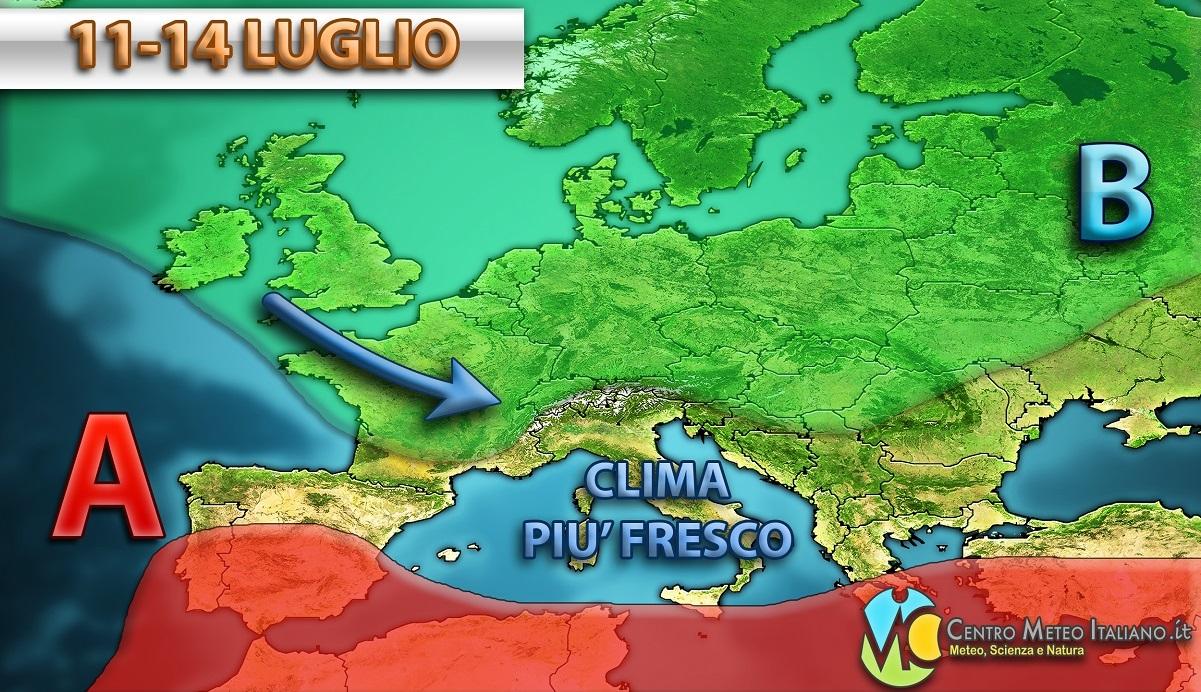 Settimana dinamica la prossima sull'Italia, con piogge e aria più fresca che saranno i tratti distintivi del meteo.