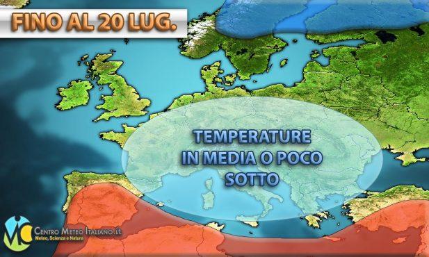 Temperature in calo e a tratti anche sotto le medie