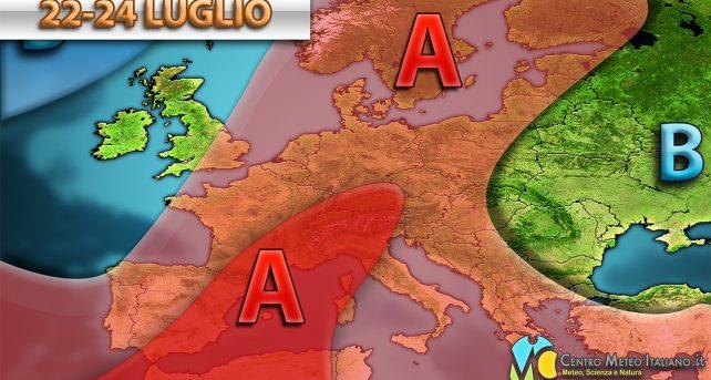 Anticiclone in espansione sull'Europa, con tanto sole e tanto caldo nei prossimi giorni sull'Italia.