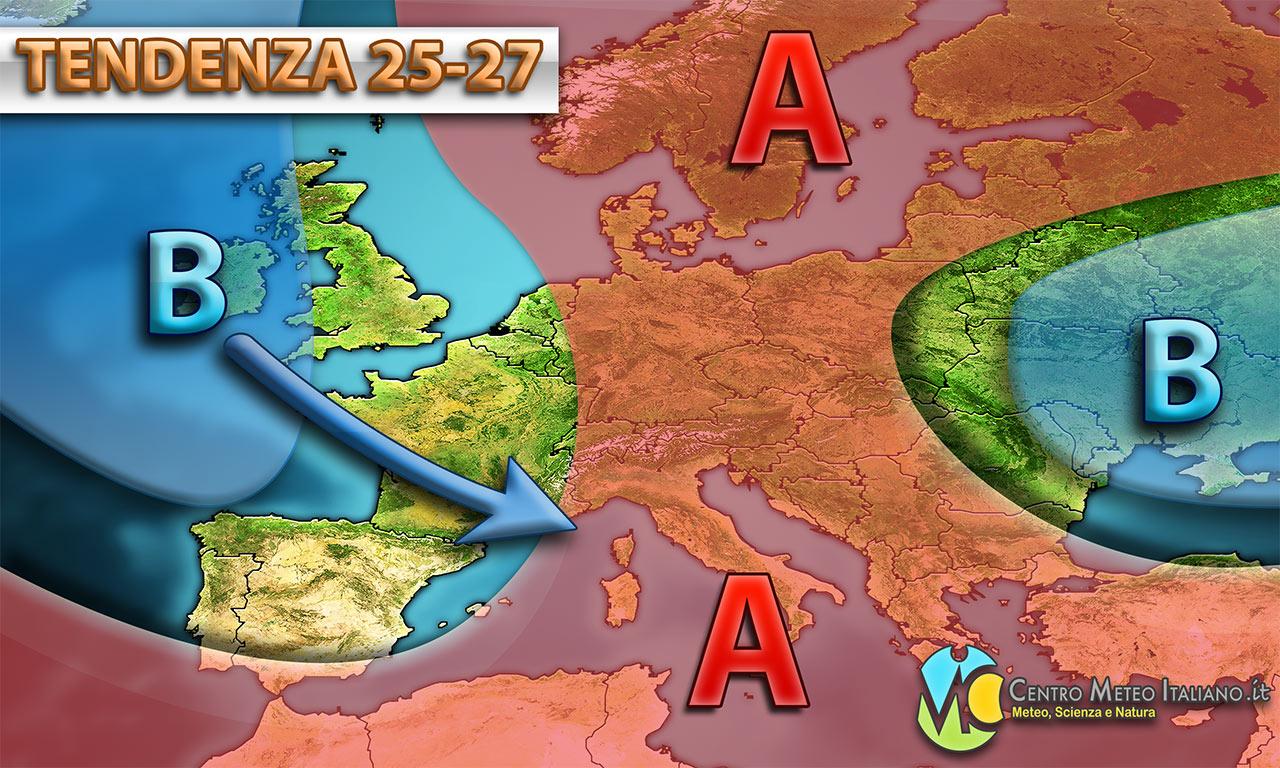 Possibile perturbazione sull'Italia per l'ultimo weekend di luglio, con maltempo e temperature in calo secondo i modelli.