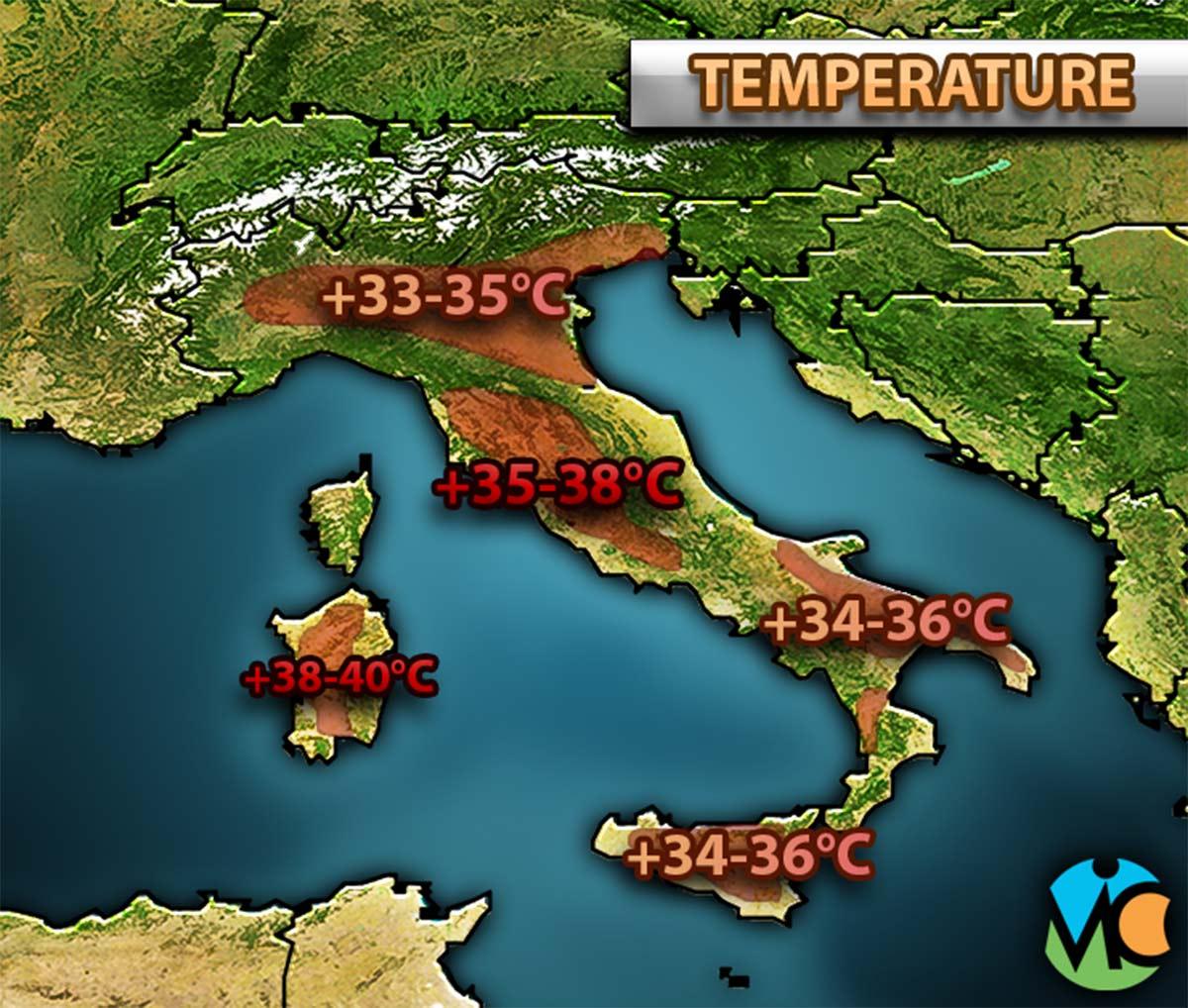 Temperature in aumento, con le zone più calde che saranno quelle di Sardegna, Toscana, Lazio e Umbria.