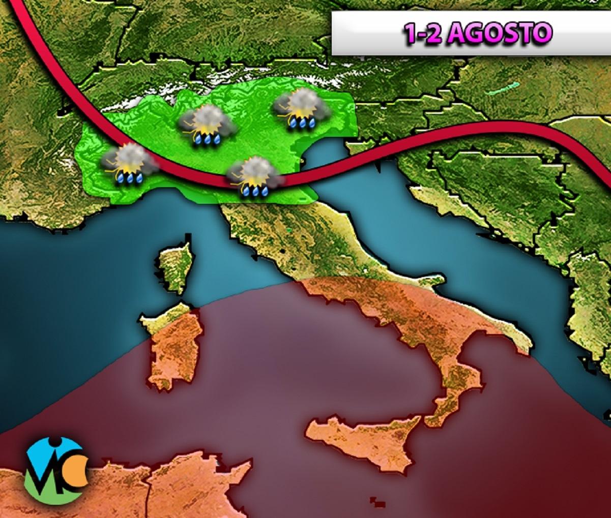 Nei prossimi giorni il transito di una saccatura atlantica porterà nuovamente acquazzoni e temporali sull'Italia.