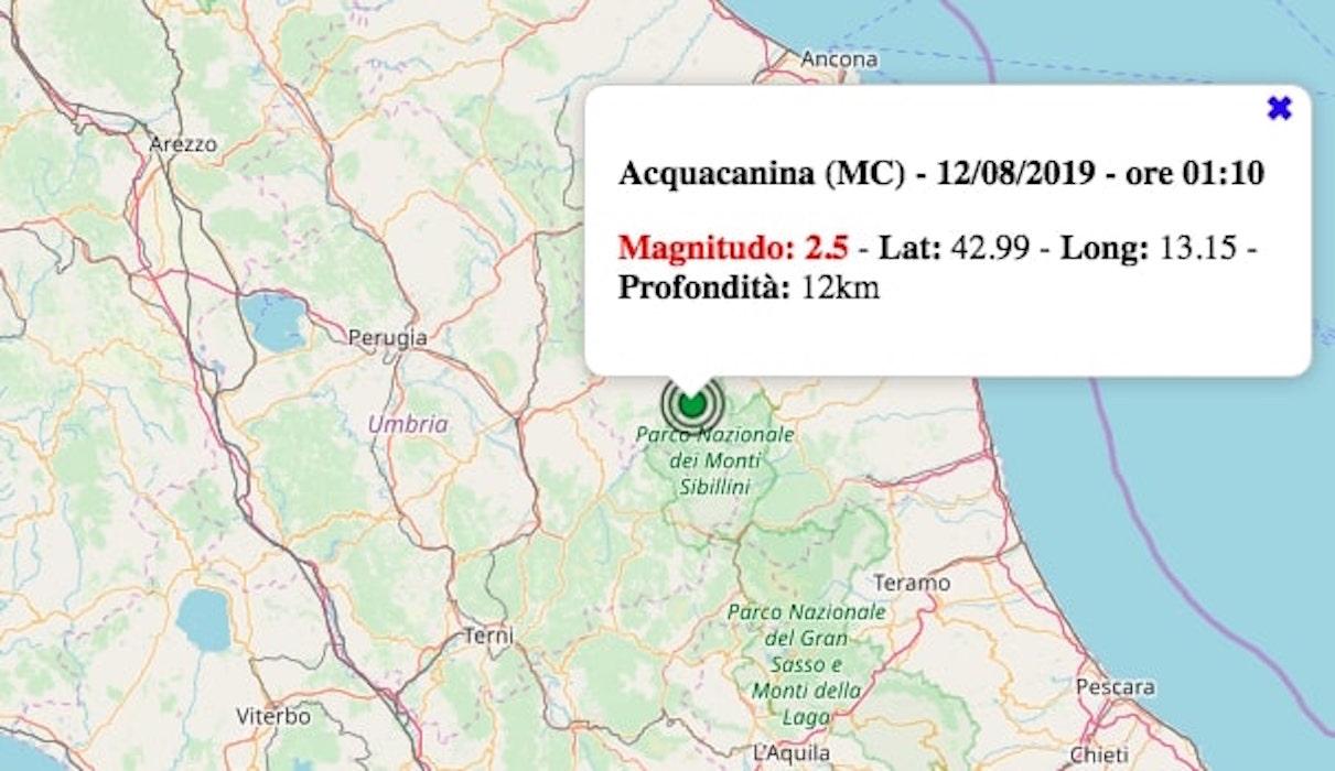terremoto oggi marche 12 agosto 2019
