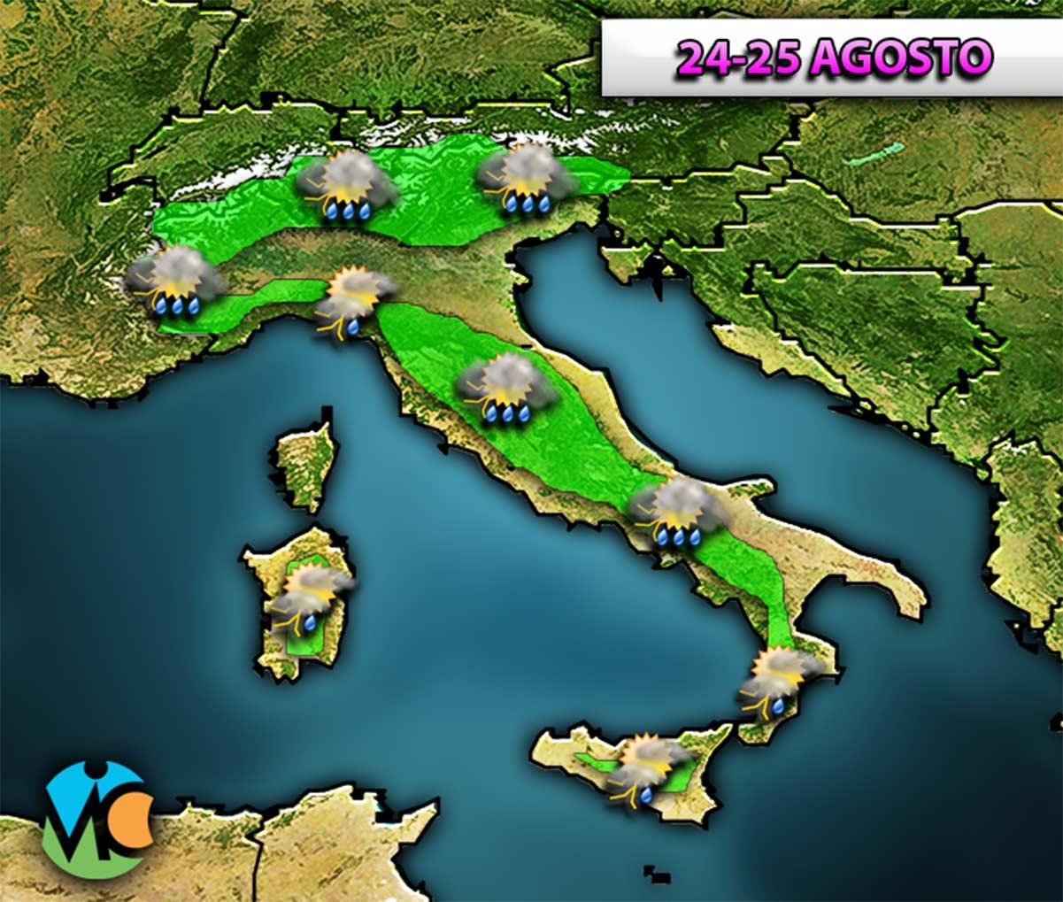 Nelle prossime ore e nei prossimi giorni l'Italia non sarà risparmiata da acquazzoni e temporali localmente intensi.