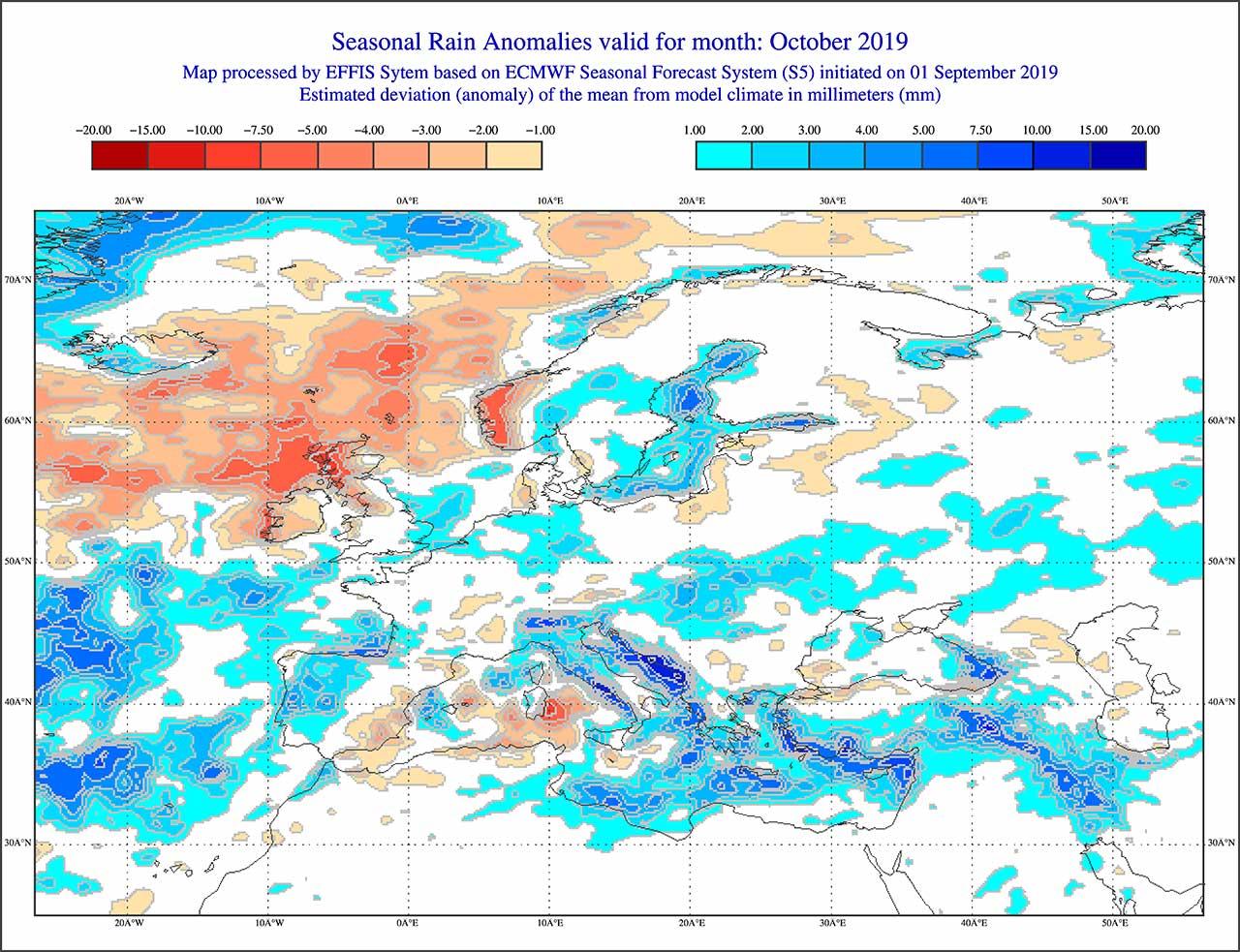 Anomalie di precipitazione previste dal modello ECMWF per ottobre 2019 - effis.jrc.ec.europa.eu