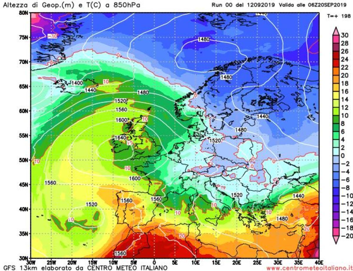 Aria più fredda da nord-est secondo il modello GFS