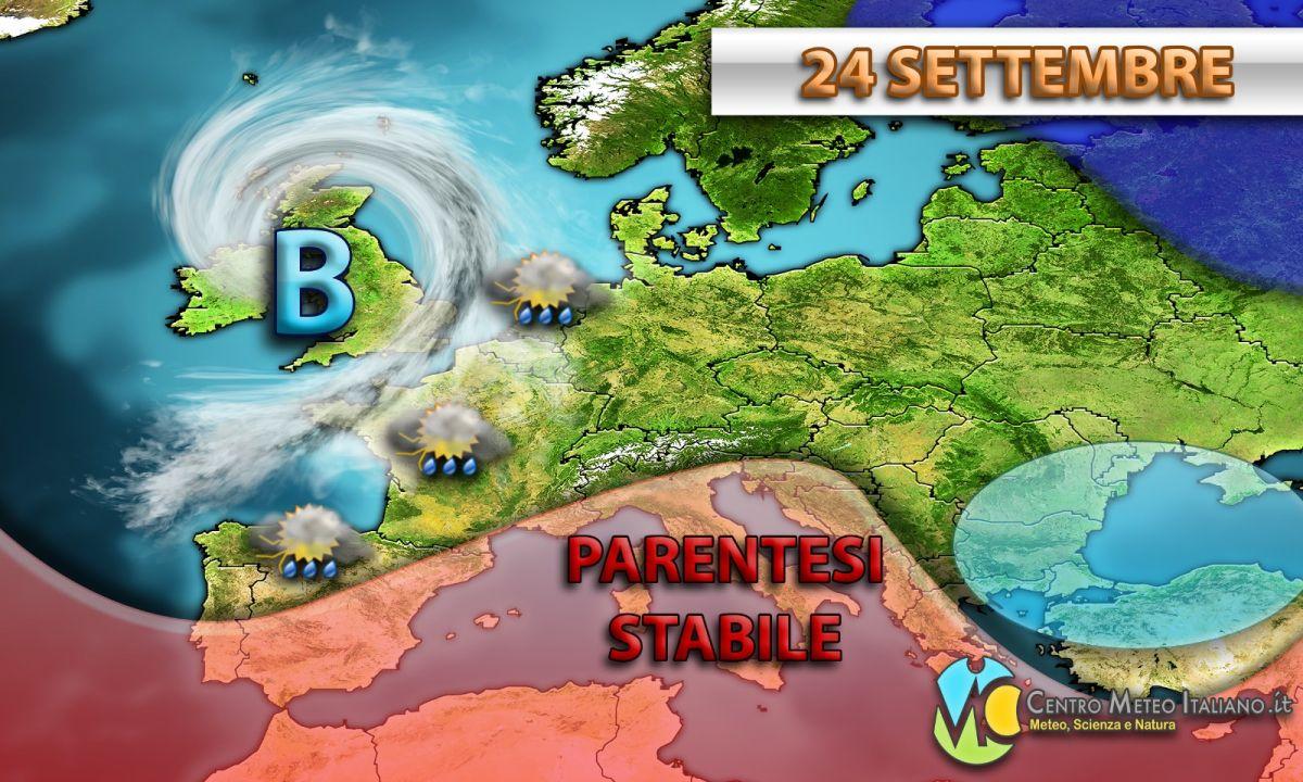 Breve parentesi stabile prevista per il 24 settembre, prima di un nuovo impulso di origine atlantica.