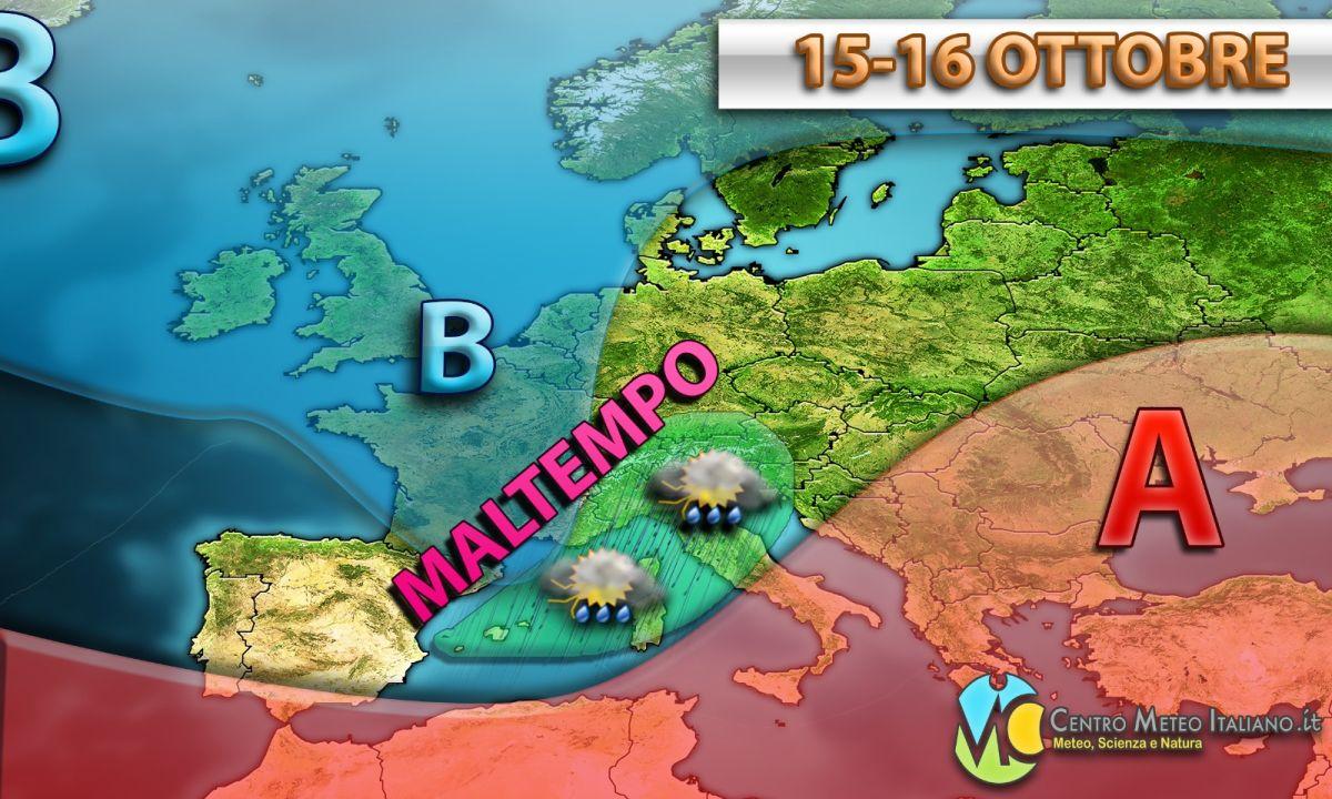 Maltempo in arrivo sull'Italia a causa di una saccatura di origine nordatlantica in affondo sul Mediterraneo.
