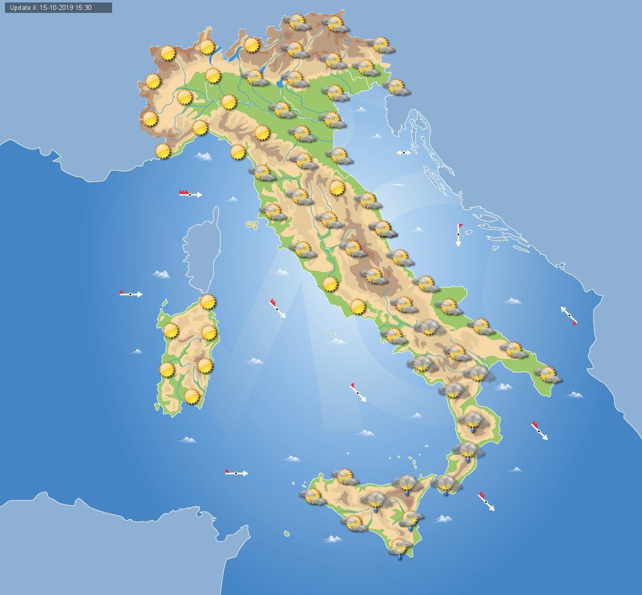 Previsioni meteo oggi 16 ottobre in Italia