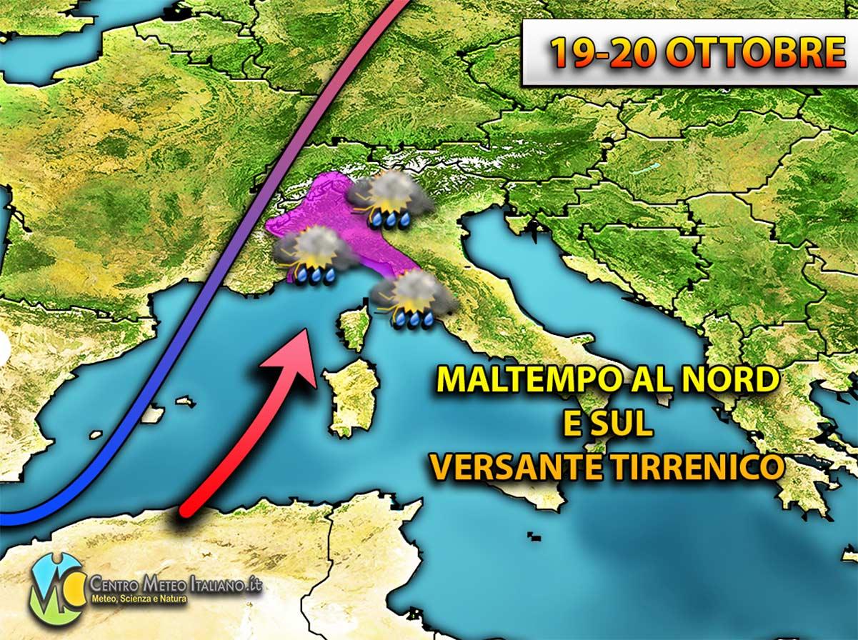 Maltempo in arrivo per il weekend ma l'Italia sarà solo in parte interessata da una vasta perturbazione atlantica.