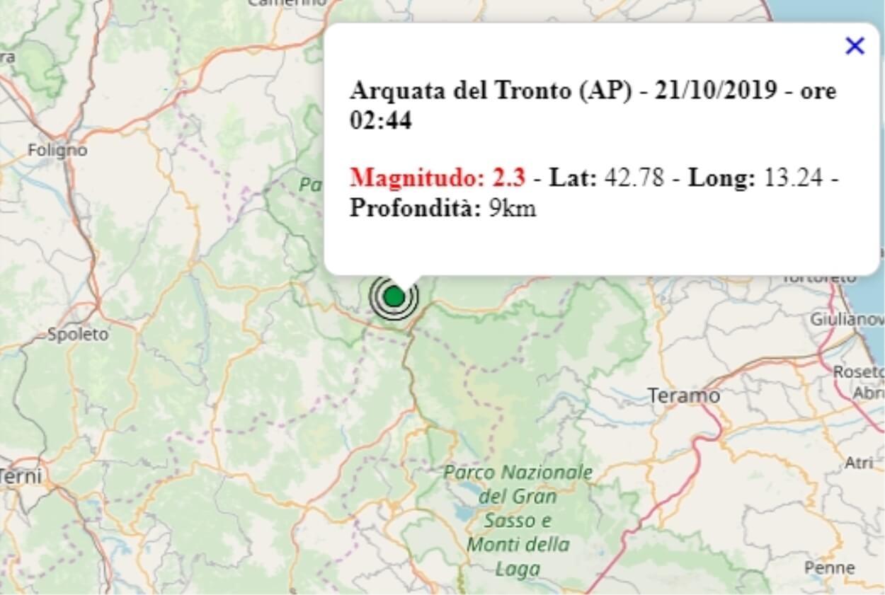 Terremoto nelle Marche oggi, 21 ottobre 2019, scossa M 2.3 ...
