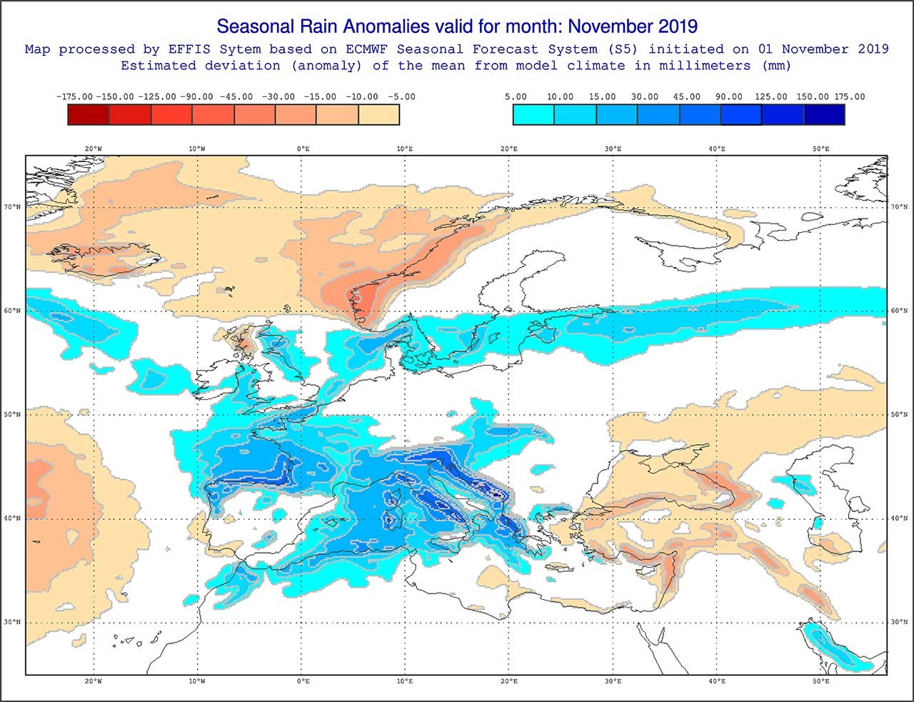 Anomalie di precipitazione previste dal modello ECMWF per novembre 2019 - effis.jrc.ec.europa.eu
