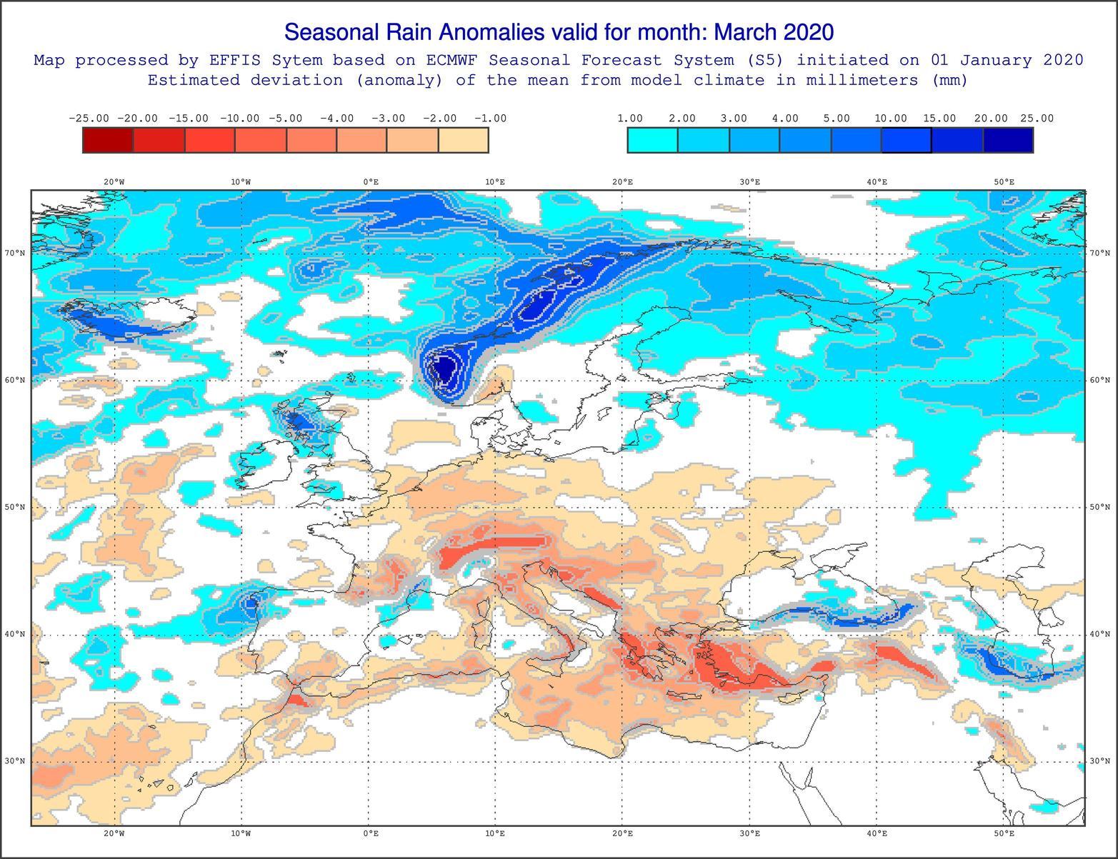 Anomalie di precipitazione per Marzo 2020 secondo il modello ECMWF - effis.jrc.ec.europa.eu