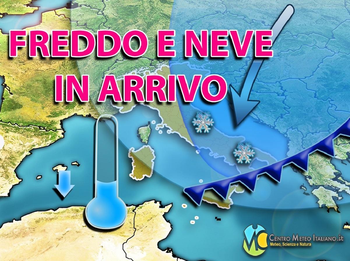 Meteo Italia: freddo e neve in arrivo nelle prossime ore.