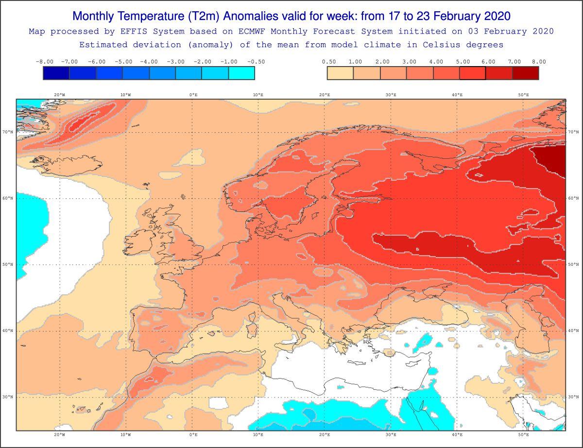 Meteo 15 giorni,previsioni del tempo dal 17 al 23 Febbraio 2020