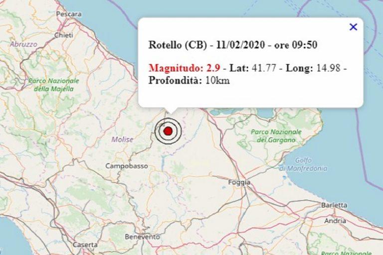 Terremoto in Molise oggi, 11 febbraio 2020: scossa M. 2.9 in provincia di Campobasso | Dati ufficiali INGV