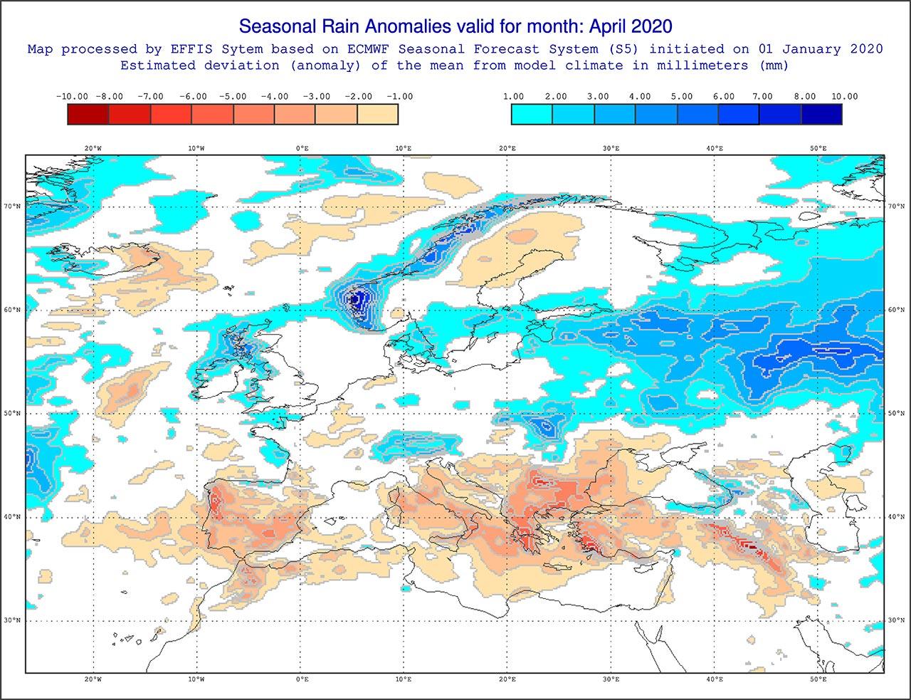 Anomalie di precipitazione previste dal modello ECMWF per aprile 2020 - effis.jrc.ec.europa.eu