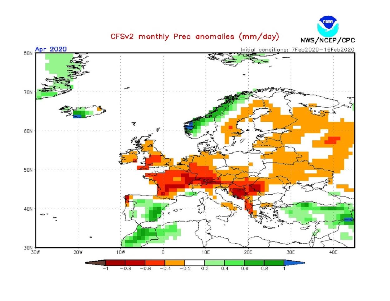 Anomalie di precipitazione previste dal modello CFS per aprile 2020 - cpc.ncep.noaa.gov