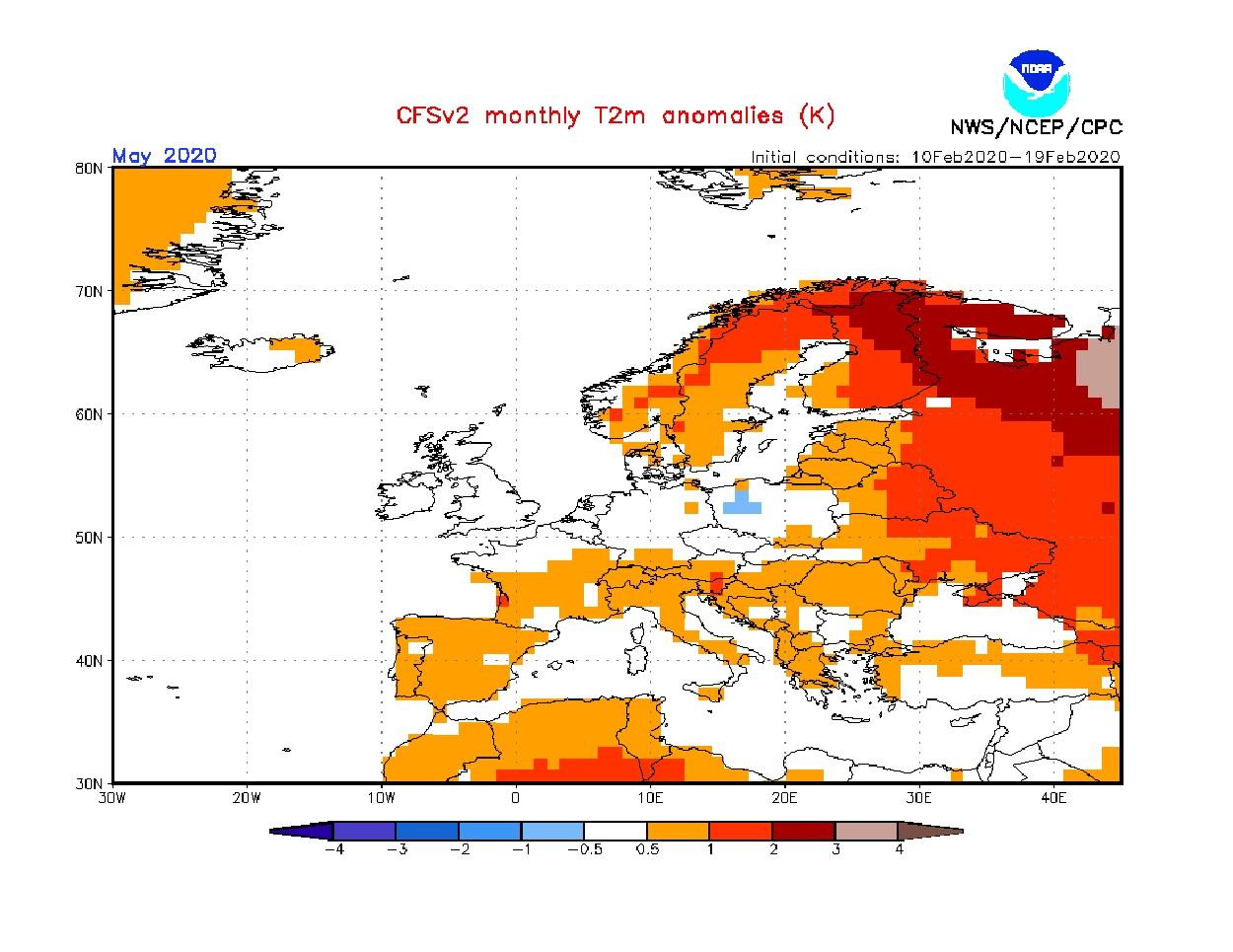 Anomalie di temperatura previste dal modello CFS per maggio 2020 - cpc.ncep.noaa.gov.jpg