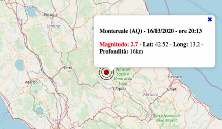 Terremoto oggi Abruzzo, lunedì 16 marzo 2020: scossa M 2.7 in provincia dell'Aquila – Dati INGV