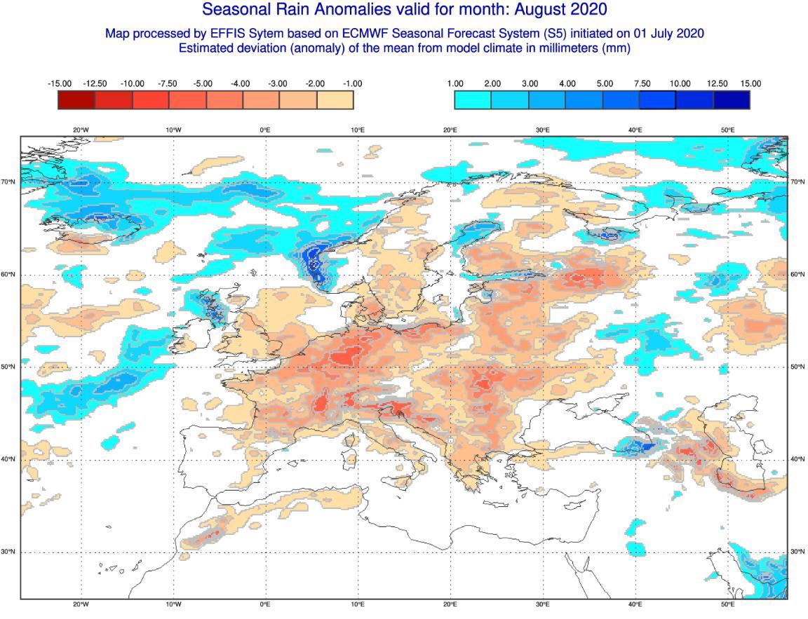 Poche piogge per agosto 2020, tendenza meteo fonte: effis.jrc.ec.europa.eu.