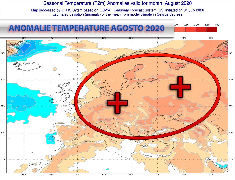 Anomalie di temperatura previste dal modello europeo per agosto 2020 - effis.jrc.ec.europa.eu.eu
