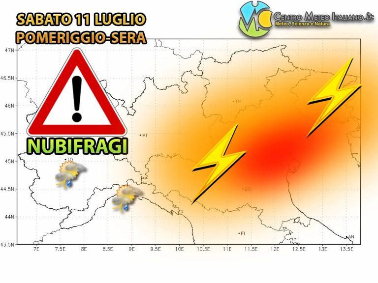 METEO – NUBIFRAGI e GRANDINATE imminenti sull'ITALIA, ecco le zone colpite
