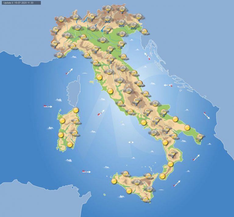 Previsioni meteo domani 16 luglio 2020: Temporali al nord-est Italia e localmente al sud, prevalentemente stabile altrove