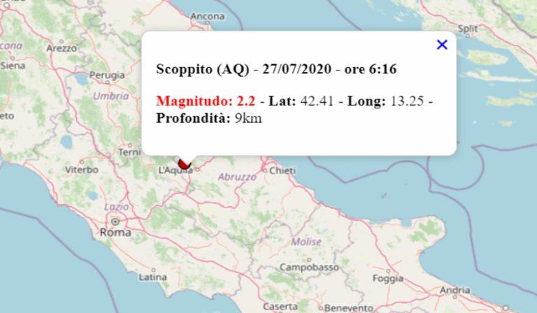 Terremoto oggi in Abruzzo, 27 luglio 2020: in mattinata scossa M 2.2 in provincia dell'Aquila – Dati INGV