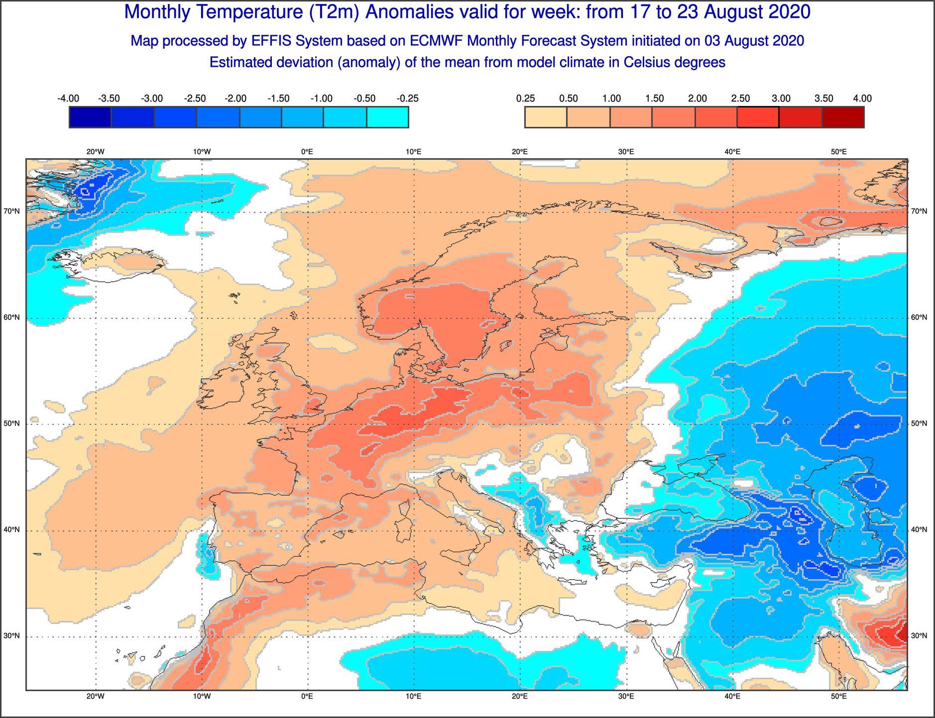 Anomalie di temperatura previste tra il 17 e il 23 agosto - effis.jrc.ec.europa.eu