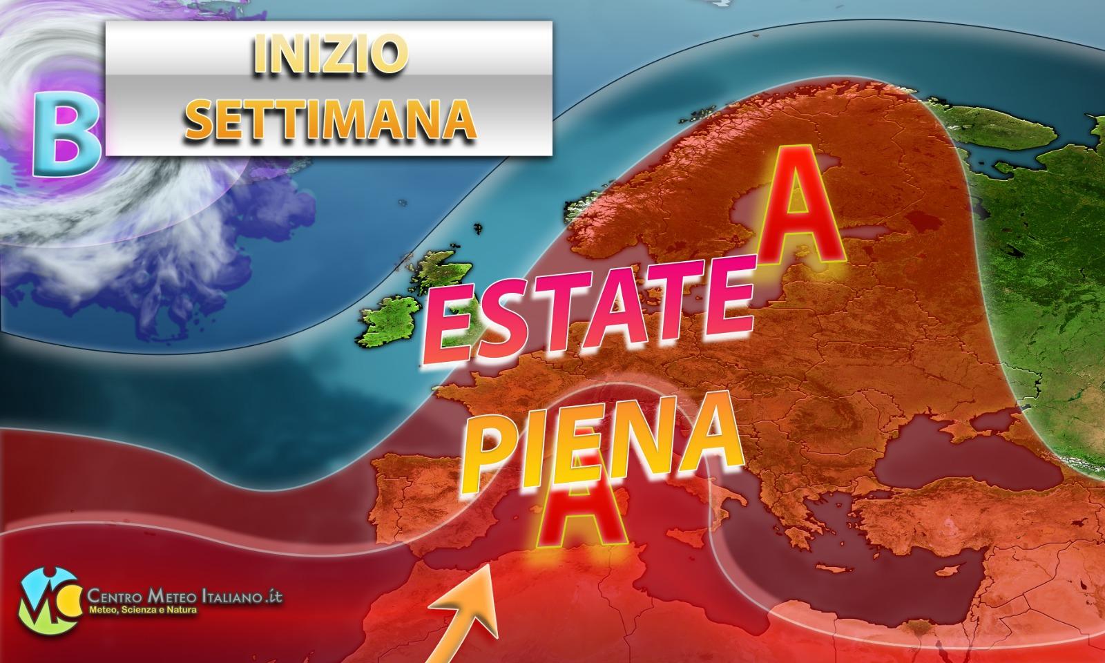 Estate piena in Italia per gli inizi della prossima settimana con caldo via via in aumento.