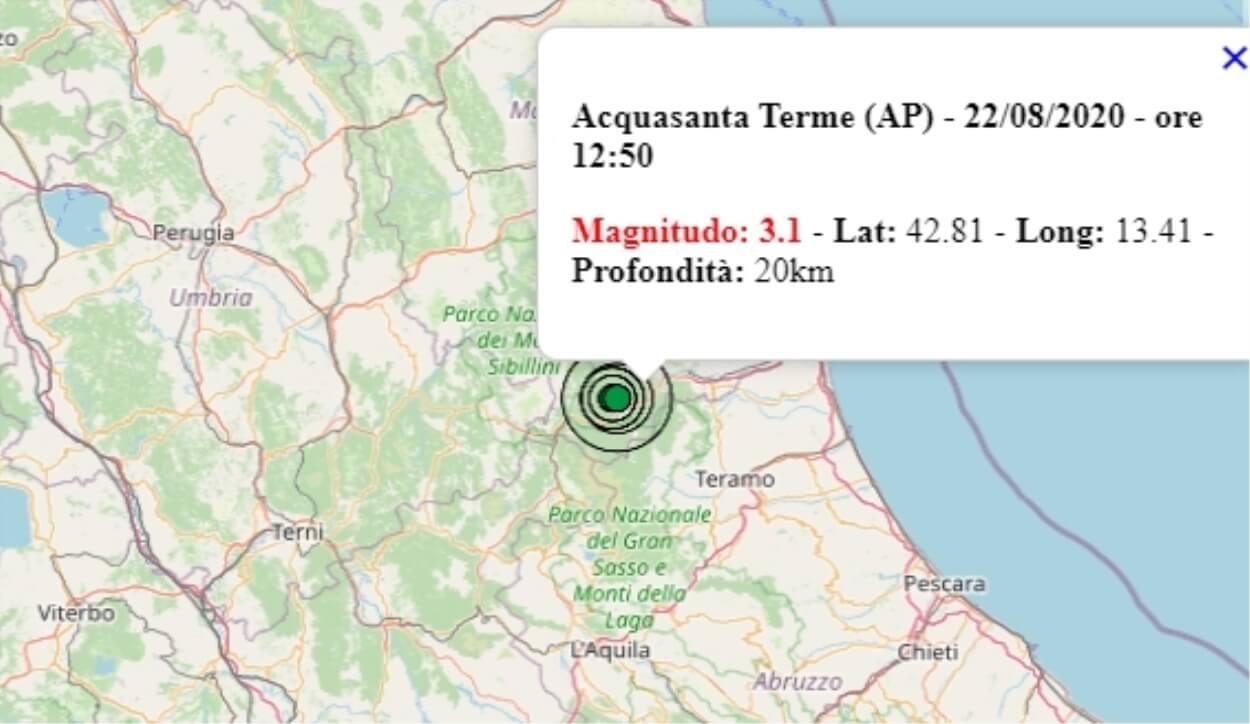 Terremoto nelle Marche oggi, 22 agosto 2020, scossa M 3.1 ...