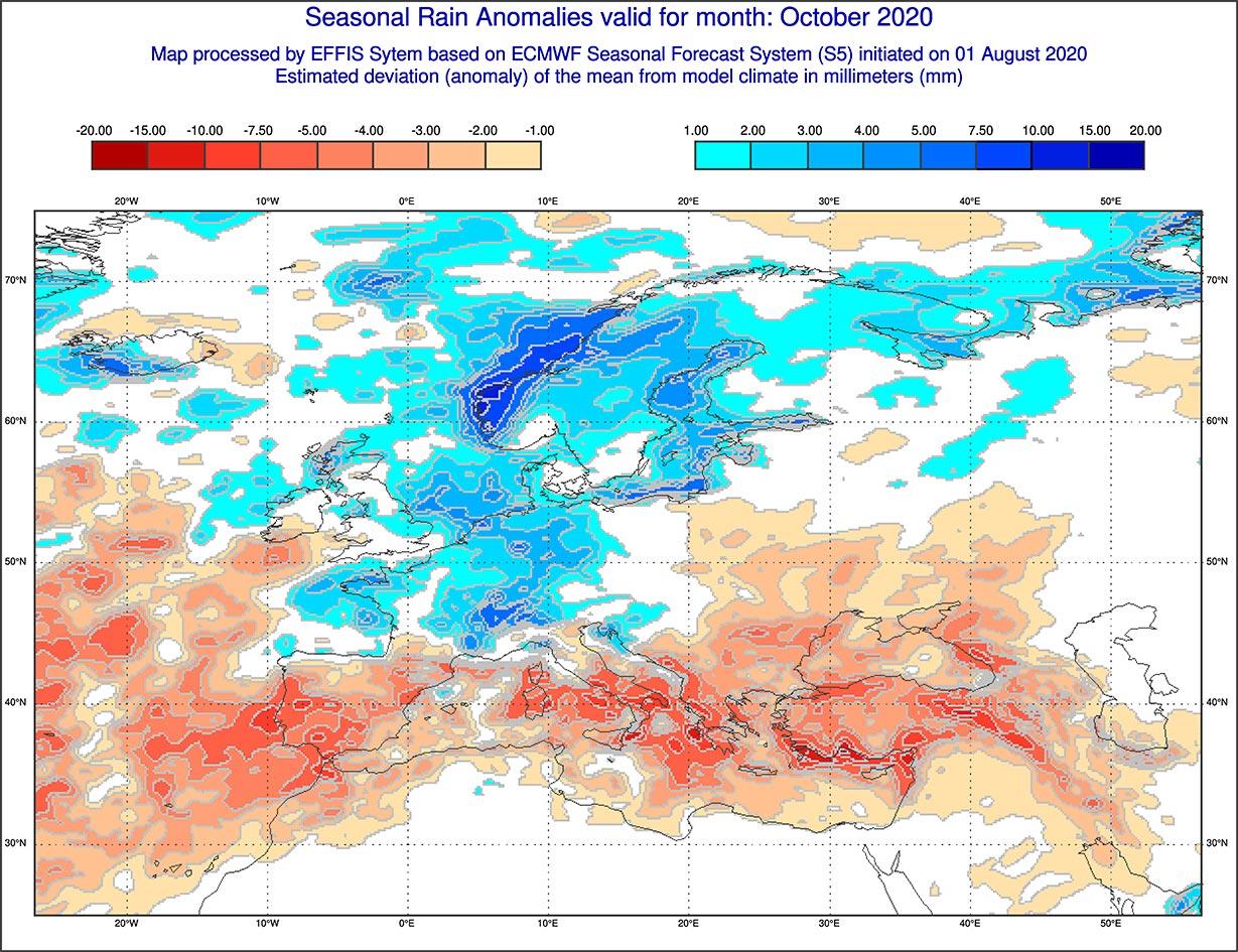Anomalie di precipitazione previste dal modello ECMWF per ottobre 2020 - effis.jrc.ec.europa.eu