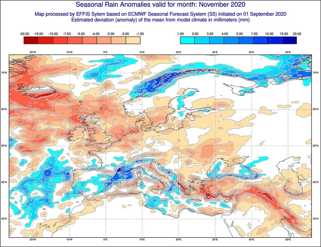 Anomalie di precipitazione previste dal modello ECMWF per novembre 2020 - effis.jrc.ec.europa.eu