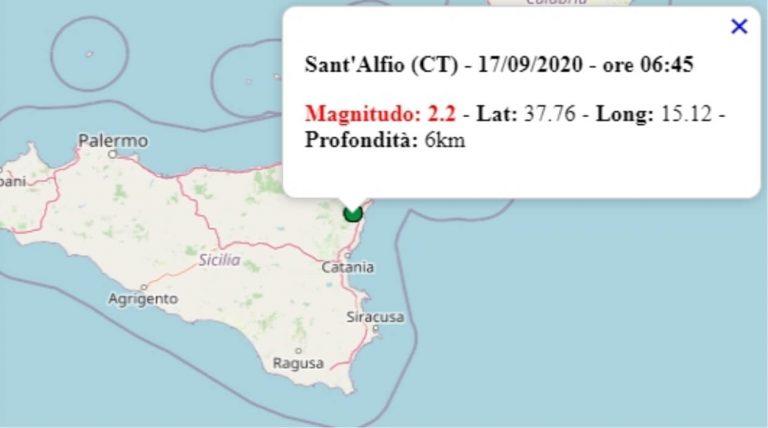 Terremoto in Sicilia oggi, 17 settembre 2020, scossa M 2.2 provincia di Catania – Dati Ingv