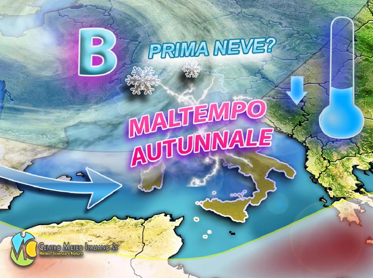 Maltempo in Italia nei prossimi giorni; prima neve di stagione in montagna dal 25 settembre