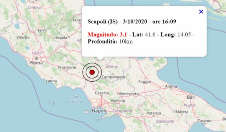 Terremoto oggi 3 ottobre 2020, serie di scosse in provincia di Isernia: la più intensa di magnitudo 3.1
